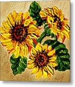 Sunflowers On Wooden Board Metal Print