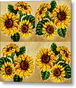 Sunflowers Pattern Country Field On Wooden Board Metal Print
