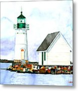 Sunken Rock Lighthouse Ny Metal Print