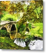 Sunlit Bridge In Park Metal Print
