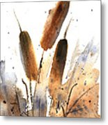 Sunlit Cattails Metal Print by Vickie Sue Cheek