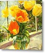 Sunlit Tulips Metal Print