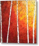 Sunset Birches Metal Print