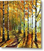 Sunny Birches - Palette Knife Oil Painting On Canvas By Leonid Afremov Metal Print