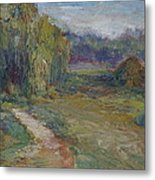 Sunny Morning In The Park -wetlands - Original - Textural Palette Knife Painting Metal Print