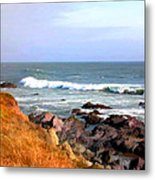Sunny Ocean Shoreline Metal Print