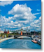 Sunny River And Moscow Kremlin Metal Print
