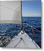 Sunny Yacht Bow Metal Print