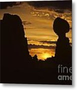Sunrise Arches National Park With Balanced Rock Silhouetted Agai Metal Print