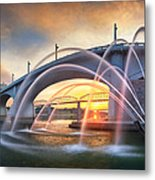Sunrise At John Ross Landing Fountain Metal Print by Steven Llorca