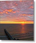 Sunrise At Saltburn Pier And Seafront Portrait Metal Print