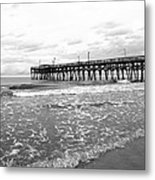 Sunrise At Surfside Bw Metal Print