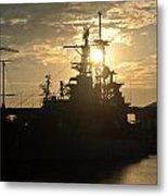 Sunrise At The Naval Base Silhouette Erie Basin Marina V1 Metal Print
