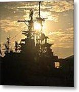 Sunrise At The Naval Base Silhouette Erie Basin Marina V2 Metal Print