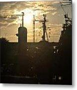 Sunrise At The Naval Base Silhouette Erie Basin Marina V4 Metal Print