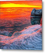 Sunrise Chicago Lake Michigan 1-30-14 Metal Print