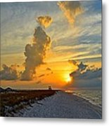 Sunrise Colors Over Navarre Beach With Stormclouds Metal Print