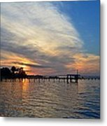 Sunrise Colors With Red Sky At Morning Sailor's Warning Metal Print