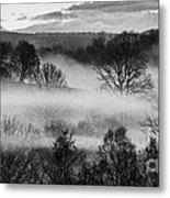 Sunrise Fog Black And White Metal Print