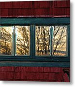 Sunrise In Old Barn Window Metal Print