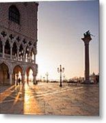 Sunrise In St Marks Square Venice Italy Metal Print