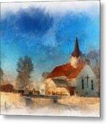 Sunrise On A Rural Church 03 Metal Print