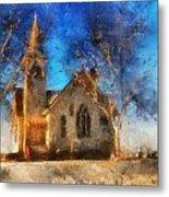 Sunrise On A Rural Church 12 Metal Print