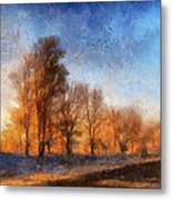 Sunrise On A Rural Country Road Photo Art 02 Metal Print