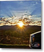 Sunrise On A Traffic Jam Metal Print