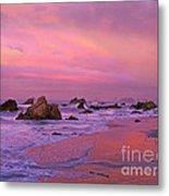 Sunrise On Sea Stacks Harris Sb Oregon Metal Print