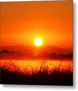 Sunrise On The Rice Fields Metal Print
