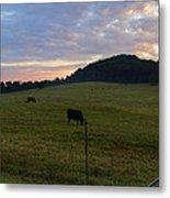 Sunrise Over Farm Metal Print