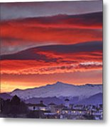 Sunrise Over Granada And The Alhambra Castle Metal Print
