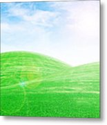 Sunrise Over Green Grass Hills Metal Print
