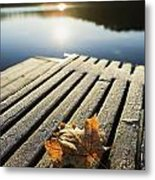 Sunrise Over Leaf On Floating Dock In Metal Print