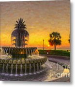 Sunrise Over Pinapple Fountain Metal Print