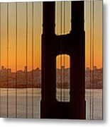 Sunrise Over San Francisco Bay Through Golden Gate Bridge Metal Print