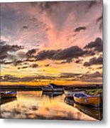 Sunrise Over The Old Salmon Boats Metal Print