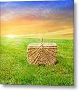 Sunrise Picnic Basket Metal Print