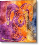 Sunrise Ram Water Color Metal Print