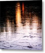 Sunrise Reflected On Icy Pond Metal Print