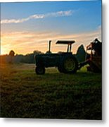 Sunrise Tractor Metal Print