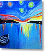 Sunrise At The Lake - Van Gogh Style Metal Print