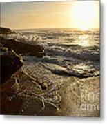 Sunrise Waves On The Rocks By Kaye Menner Metal Print
