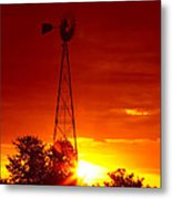 Sunrise Windmill 1 A Metal Print