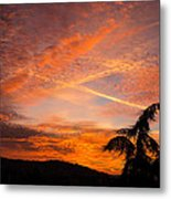 Sunrise With Orange And Red Clouds In The Sky Metal Print