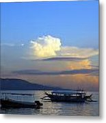 Sunrise With Outrigger Boats Metal Print