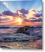 Sun's Rays By The Old Coral. Metal Print