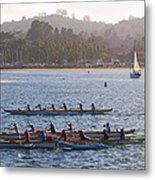 Sunset Activity At The Harbor Metal Print
