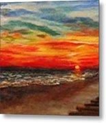 Sunset After Sandy Metal Print
